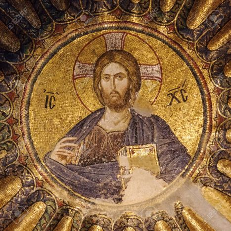 Christ mosaic in the dome of Chora church